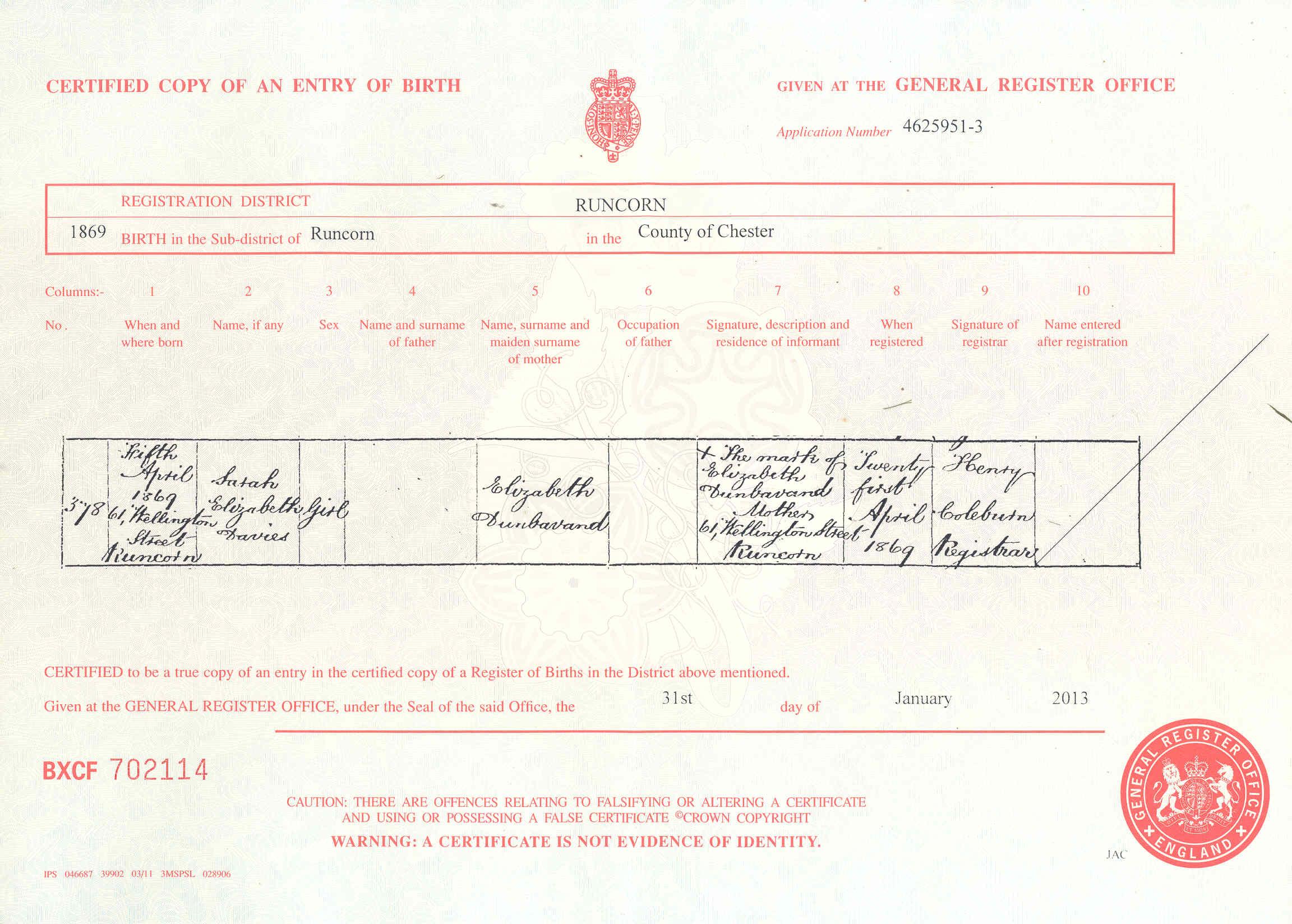 Donbavand certificates dunbavand sarah elizabeth davies birth 1869g aiddatafo Choice Image