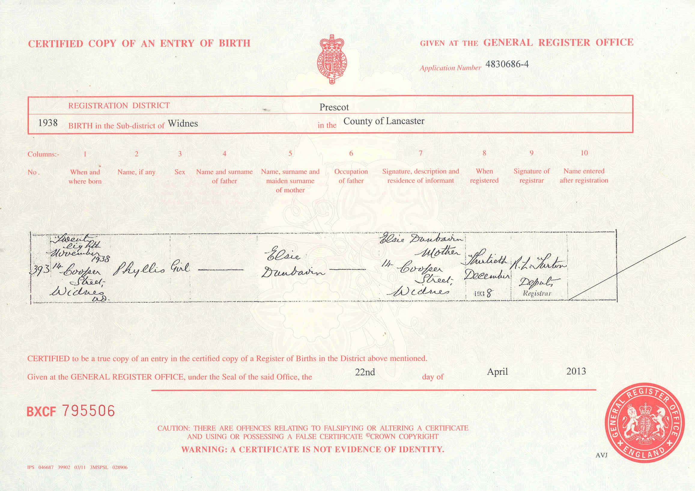 Donbavand certificates dunbavin phyllis birth 1938g aiddatafo Image collections