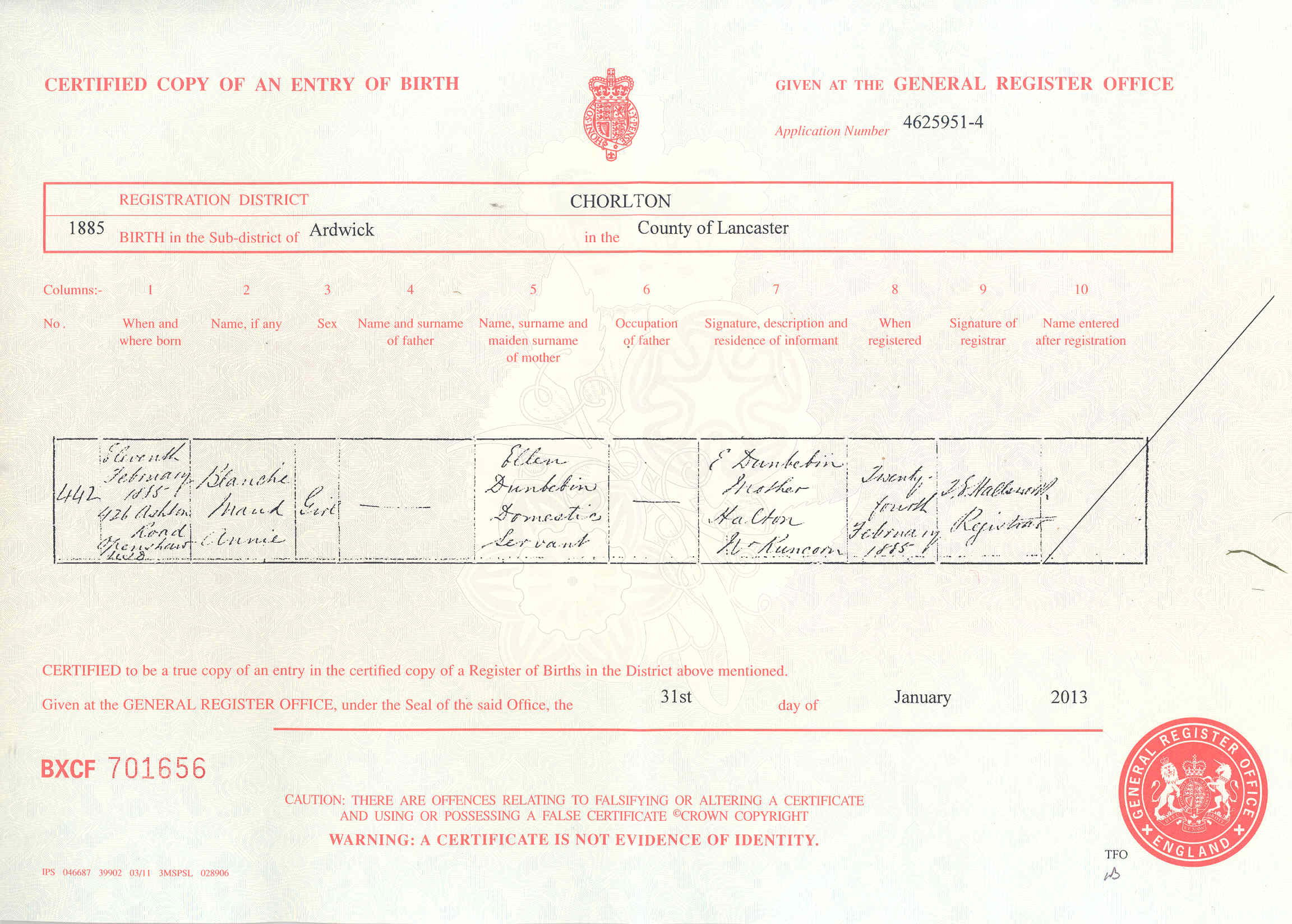 Donbavand certificates dunbebin blanche maud birth 1885g aiddatafo Image collections