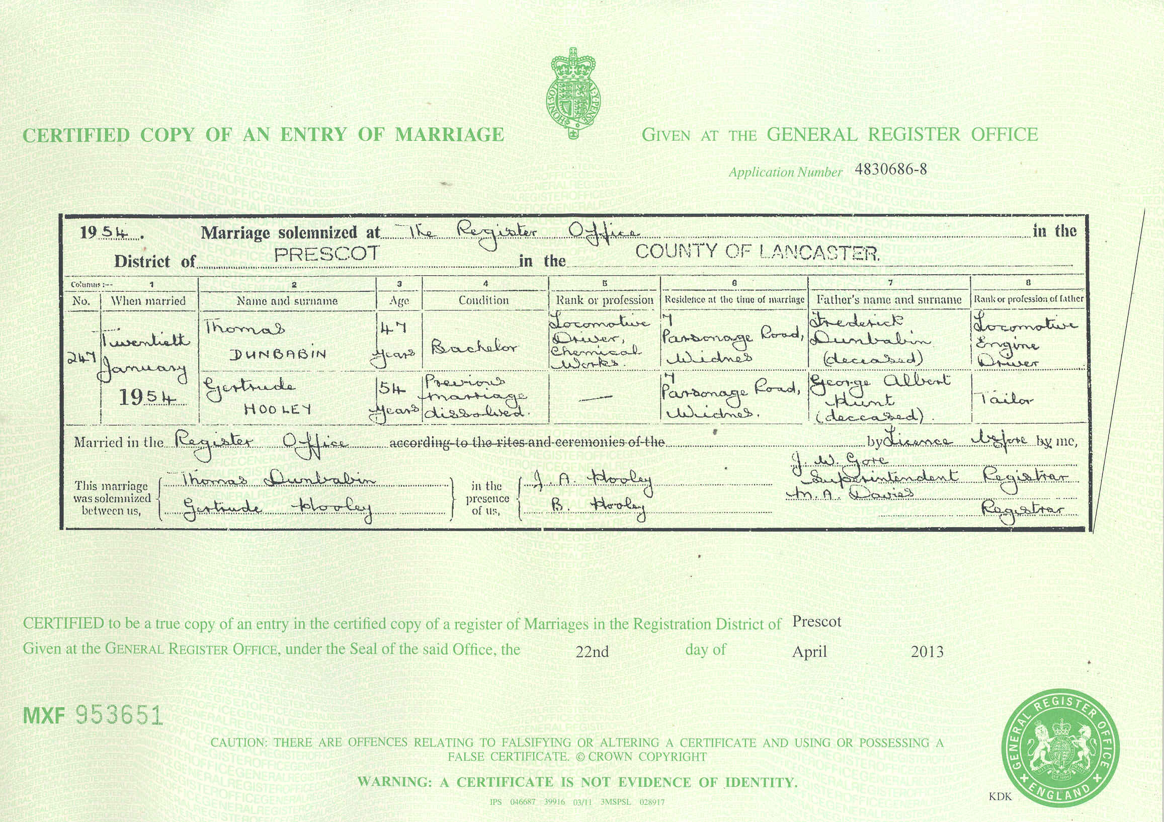 Donbavand certificates dunbabin thomas hooley gertrude marriage 1954g xflitez Gallery