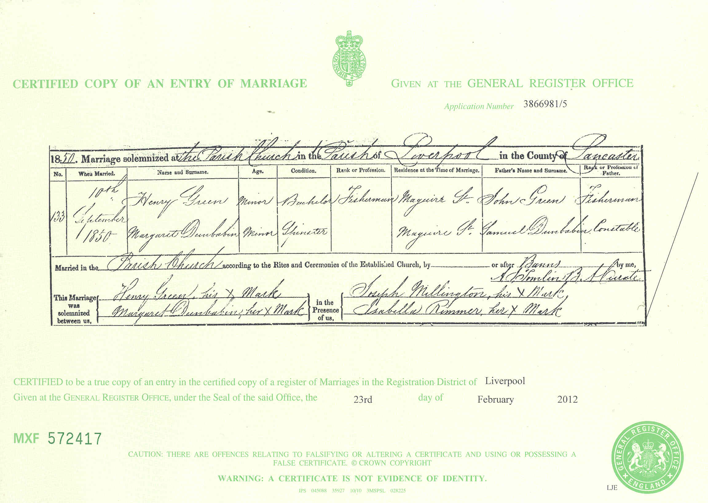 serial number on scottish marriage certificate